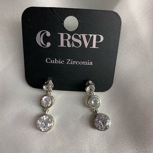 NEW- Charming Charlie silver and diamond earrings
